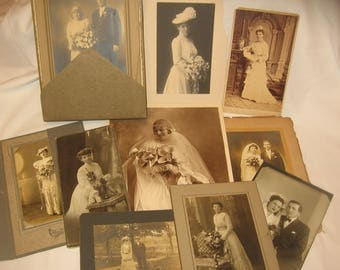 10+ Beautiful BRIDES Antique Cabinet Cards Portrait Photos Lot SHABBY Wedding Party altered art junk journals tags cards  framing CHEAP