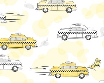 City Life by Ink & Arrow Fabrics - Taxi Cabs in Yellow (24301-S) - Ink and Arrow- 1 Yard