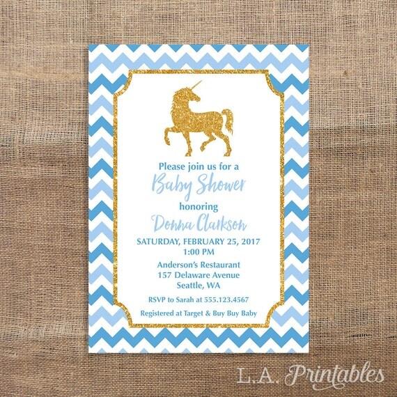 Unicorn Baby Shower Invitation Blue and Gold Glitter Baby