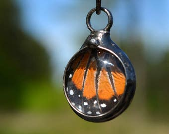 Butterfly Necklace, Real Butterfly Wing, Queen Butterfly, Butterfly Jewelry, Small Butterfly Pendant, Nature Lover Gift (2733)