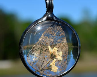 Unusual Organic Pendant, Real Leaf & Flowers Encased in Glass, Unique Pendant, Flora, Leaf Necklace, Woodland Jewelry, Glass Jewelry (2735g)