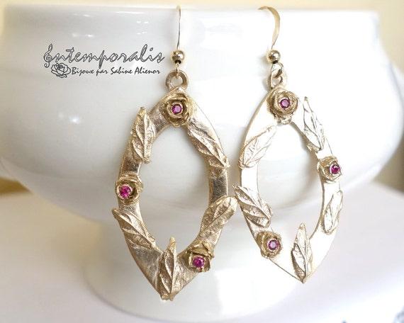 Bronze earrings with pink corundum, OOAK, SABO22