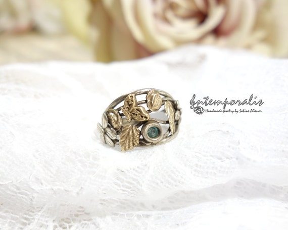 Bicolore bronze and green cubic zirconium ring, french size 52, OOAK, SABA33