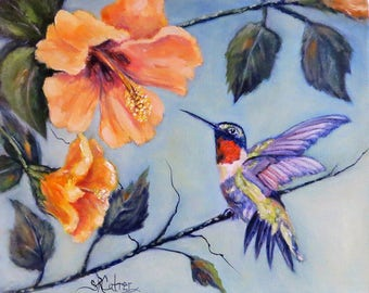 Hummingbird Hibiscus bird flower print on canvas of original oil painting by Sandra Cutrer