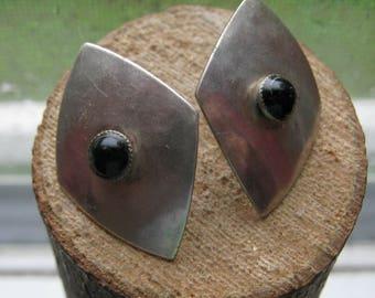 Vintage Marjorie Baer Signed Stud Earrings Black Onyx and Sterling Silver Ladies Women's Earrings