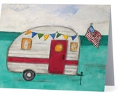 Boxed Note Cards, Vintage Camper in Red and White, Teal, Aqua, American Flag Vacation