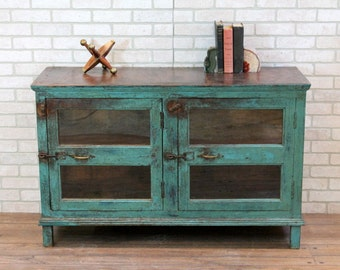 Media Stand Reclaimed Vintage Sideboard Industrial Turquoise Boho Console TV Stand Moroccan Decor Loft Furniture Bar Cabinet