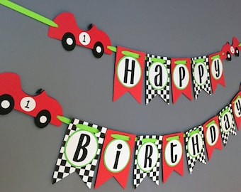 Boys Birthday Banner, Race Car Birthday Decorations, Sports Car, Red Race Car