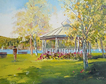 Original oil painting, wall art, home decor, Canadian painting, summer painting, gazebo in the park, modern art, scenery