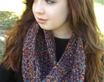 Chunky Crocheted Multicolored Infinity Scarf