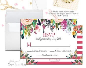 Floral Wedding RSVP Card - Floral Wedding Reply Card - Baby Shower Reply Cards - Printable RSVP Cards - Response Card - Bridal Shower RSVP