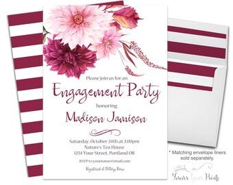 Boho Engagement Invitation - Floral Engagement Invite - Boho Bridal Shower Invite - Floral Shower Invitation - Wedding Shower - Pink Dahlias