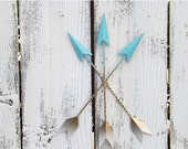 BLACK FRIDAY SALE Ombre Wall Arrow Hanging / Aqua / Gold Wall Arrow //  Arrow Decor / Tribal Arrow / Southwestern Decor / Arrow Wall Decor