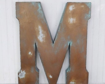 Metal Letters,Wall Letters,Large Letter M,Shabby Chic Letters, Rustic Letters,Living Room Decor,Bedroom Wall Decor,Farmhouse,Cyber Monday
