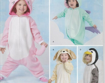 Unicorn Costume Pattern Cat Dog Penguin Uncut Boy Girl Toddler Size 1/2 - 4 Simplicity 258 S0258