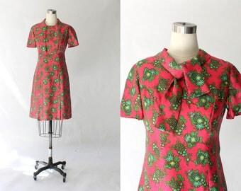 1960s Floral Necktie Dress // 60s Vintage Short Sleeve Pink and Green Knee Length Dress // Medium