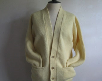 Vintage Lambwool 60s Cardigan Pale Yellow Wool Alan Paine 1960s Knit Jumper 40 Large