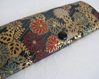 Vintage 1970s Eyewear Case Black Asian Floral Brocade Eye Glasses Spectacles Case