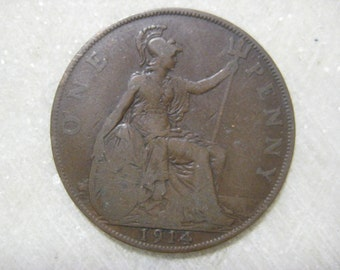 1914 United Kingdom Bronze Coin, One Penny, King George V