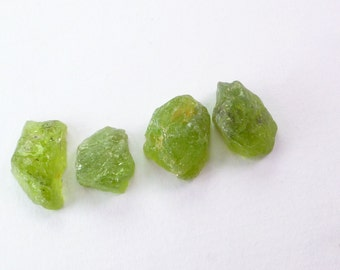 Rough Top Peridot Cabochons. Natural Gems. Rough Top. Flat Back. Easy Setting. 4 pc. 25.8 cts. 11-12 mm  (PE139)