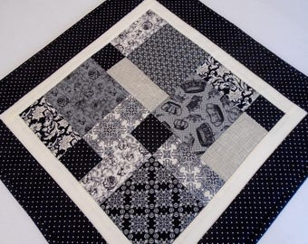 Quilted Table Topper in Black, Gray and Ivory, Patchwork Quilted Table Runner, Queen Bee Quilted Table Runner, Modern Table Quilt,