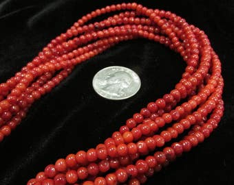 Red Coral 4mm round bead strand