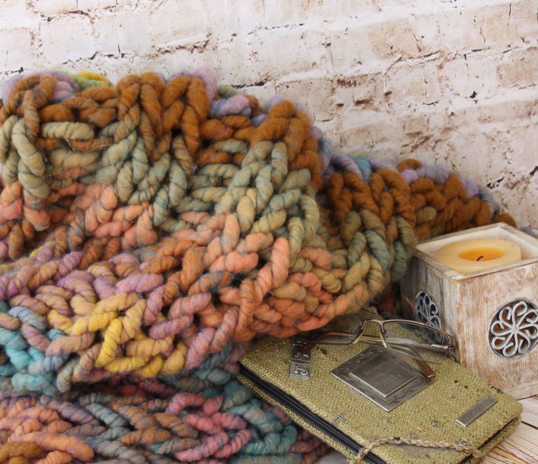 "Super Chunky  Blanket/Throw - Squishy Yarn - Merino/Bamboo  24"" x 42"" ( BL6)"