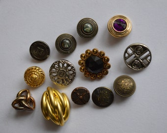 Statement Button Bonanza – Baker's Dozen Fancy Buttons for Repurposing Upcycling Project – Flashy Classy Collection of Vintage Button Finds