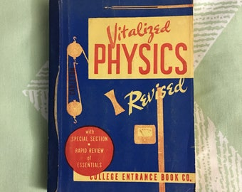 Vintage 1950s Physics Paperback Textbook, Vitalized Physics (in graphicolor), Vintage College Math Textbooks, Home Decor