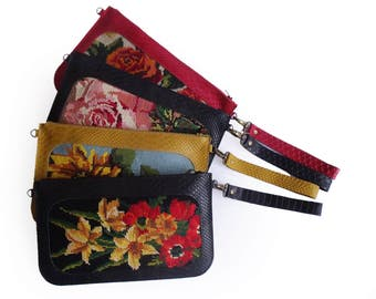 SALE Red clutch with floral needlepoint, Leather clutch, Red purse, Needlepoint tapestry evening bag