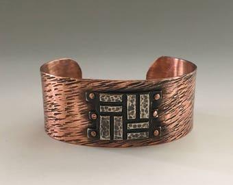 Copper Jewelry | Hammered Cuff Bracelet | Copper Rivets