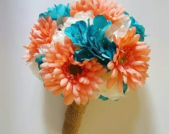 Gerbera Daisy and Hydrangea Bridal Bouquet,  Daisy Bridesmaids Bouquet, Coral and Turquoise Bouquet,   Summer Wedding Floral Package