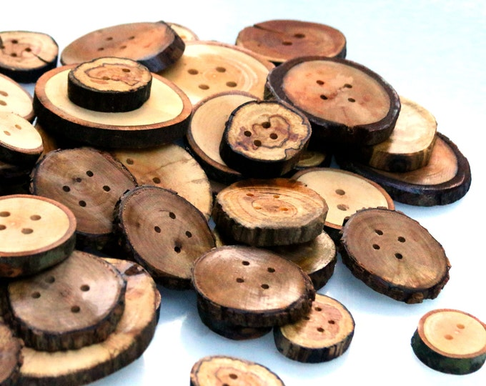Perfect For Plaid! Assorted Array Of 100 Natural Hand Cut Wooden Sewing Buttons. 2, 4 Hole & Blanks Available. Yarn Supplies Closures Knits