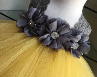 Gray Yellow Tutu Dress- Pewter Tutu Dress- Lace Tutu Dress- Chiffon Ballerina Rhinestone Flower- Flower Girl Dress