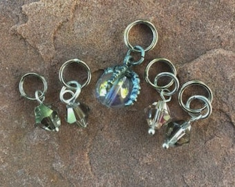 Steampunk Crystal Ball Stitch Markers for Knitting