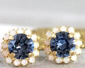Blue Navy Earrings,Dark Blue Earrings,Navy Blue Swarovski Earrings,Bridesmaids Earrings,Midnight Blue Earrings,Bridal Navy Blue Earrings