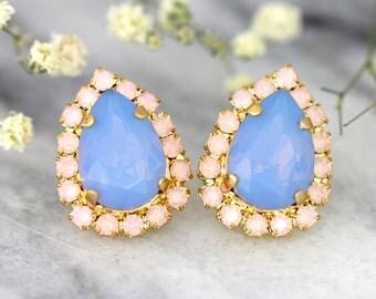 Baby Blue Earrings, Blue Opal Earrings, Aqua Pink Studs,Swarovski Blue Opal Earrings, Bridesmaids Earrings, Pastel Earrings, Bridal Earrings