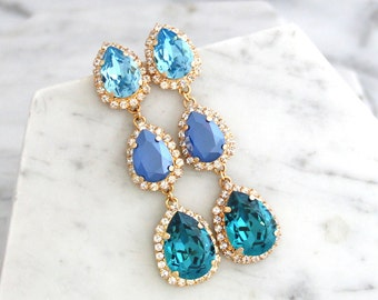 Blue Bridal Earrings, Blue Chandelier Earrings , Swarovski Chandelier Earrings, Blue Teal Earrings, Long Blue Sky Earrings, Bridal Jewelry