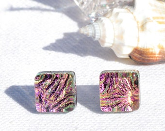"""Small Dichroic Glass Stud Earrings, Fused Glass Jewelry, Sterling Silver, Square - Pastel Spring, Pink, Gold,  3/8"""" or 10mm (Item #30941-E)"""