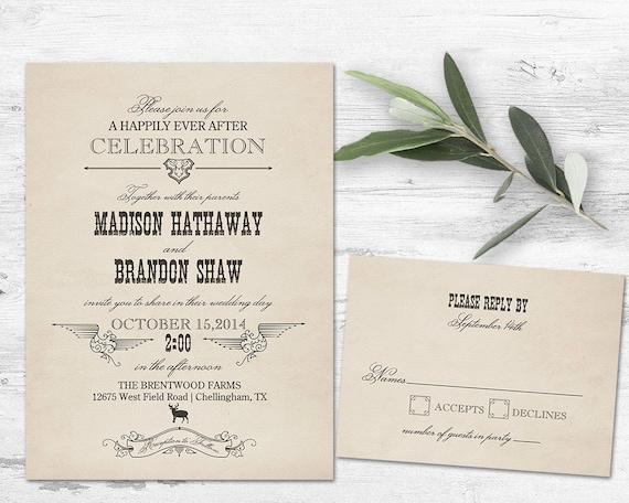 Western Wedding Invitations Templates: Items Similar To Western Wedding Invitation Rustic Country