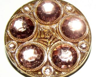 Vintage Mercury Glass Button Sparkly Pink