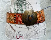 Moroccan Inspired,Tooled Leather,Wide Thick Belt,Colorful floral, Brass Buckle,Size M