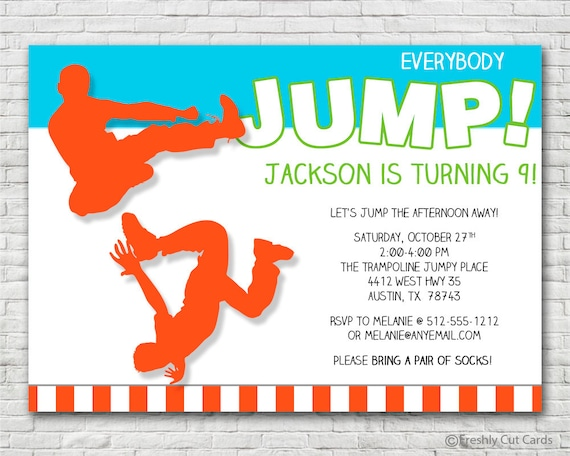 Everybody Jump Birthday Invitation Printable or Printed w