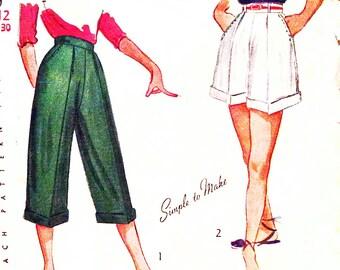 1940s Waist 25 Misses Shorts Pedal Pushers Capris Vintage Sewing Pattern Simplicity 2836 c 40s 1949