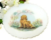 Fenton Hand Painted Satin Glass Plate Mother Dog and Puppy D. Fredrick