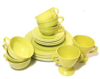 19 Pcs. Hazel Atlas Ovide Dishes Chartreuse Yellow