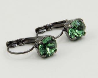 Handmade Earrings 8.5mm Green Erinite  Rhinestone on Gunmetal Lever Backs OOAK