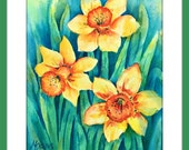 Yellow Daffodil Watercolor Springtime Garden by Martha Kisling Art With Heart