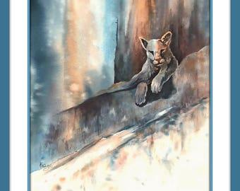 Watercolor Panther Cougar, Big Cat, Cliff Rock, Animal Art, Martha Kisling