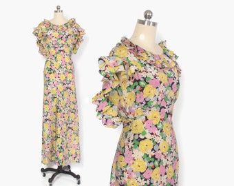Vintage 30s Ruffled Floral Silk DRESS / 1930s Bright Bias Cut Low Back Full Length Garden Party Gown